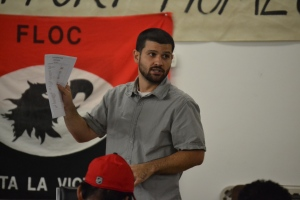FLOC Vice President Justin Flores speaks to union members at a meeting in Dudley, NC.